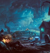art-halloween-noch-derevya